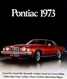 1973 Pontiac Line - Promotional Advertising Poster Always admired the two headlight Grand Prix Bmw Classic Cars, Classic Chevy Trucks, Pontiac Cars, Pontiac Grand Prix, Us Cars, Race Cars, Ford Explorer, Ford Trucks, Pickup Trucks