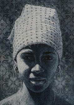 Alexi Torres, African American lady, Bandana, head scarf, knitted painting, oil painting, Unix gallery, cuban artist, afro-cuban, cubana