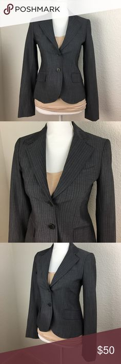 Theory blazer wool blend grey pinstripe 0 Theory grey pinstripe double button front wool blend blazer. Has 4% Lycra for stretch. Pristine condition. Retail $410. Measured laying flat... across chest 16' waist 14.5 bottom seam 18' arm inseam 19' across shoulders 16 total length 23' Theory Jackets & Coats Blazers