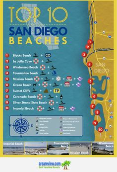 The city of San Diego, California is known for its warm and sunny climate. Its coastal location means that it has many miles of beach land. Not surprisingly, the citizens of San Diego are know for spending a great deal of time swimming, sunbathing, and so San Diego Area, San Diego Beach, Mission Beach San Diego, San Diego Map, Pacific Beach San Diego, La Jolla San Diego, Visit San Diego, San Diego Vacation, San Diego Travel