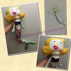 Seung-yeon's mermaid doll It's 75cm tall. #kids #art #drawing turn into a#softy #toy #doll made by #Dreamworkshop  #handmade #craft #yellow #hair #mermaid