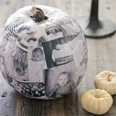 You'll cherish this decoupage photo faux pumpkin for years! A super fun and personal fall craft you can do with the kids or OF the kids!