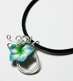 Perfume Pendant - PREMADE - Aromatherapy Wire Wrapped Tricolor Blue White Green Polymer Clay Tropical Plumeria Flower $16.00