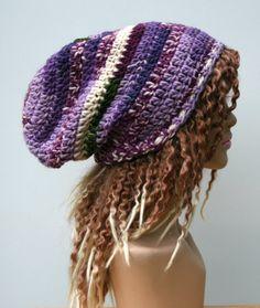 Purple mauve green longer wool Hippie Dread by PurpleSageDesignz