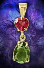 Rubellite Tourmaline Heart Facet Set in 14kt. Gold with a Sparkling Czech Moldavite Facet