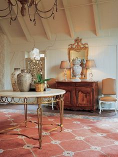 French country-style tile terracotta roof sloping commode antique metal table