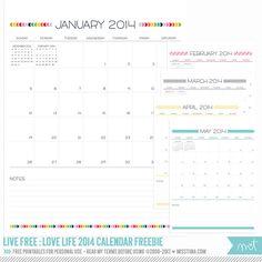 LIVE FREE : LOVE LIFE 2014 CALENDAR!