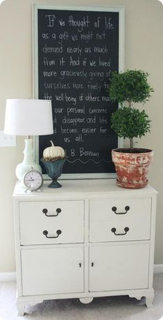 I like this idea for our entryway. I can give the kids something special to read each morning on their way out the door.