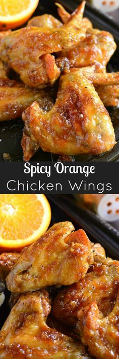 Baked chicken wings slathered in an easy homemade sp… Spicy Orange Chicken Wings. Baked chicken wings slathered in an easy homemade spicy orange glaze will make any party a smash! Orange Chicken Wings Recipe, Baked Chicken Wings, Chicken Wing Recipes, Chicken Meals, Baked Orange Chicken, Instapot Chicken Wings, Asian Chicken Wings, Fried Chicken Legs, Party Chicken