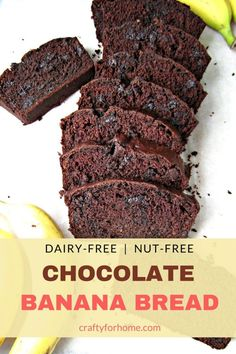Dairy-free Chocolate Banana Bread, super moist and more chocolate on it #bananabread #dairyfreebread #breakfastideas for full recipe on craftyforhome.com