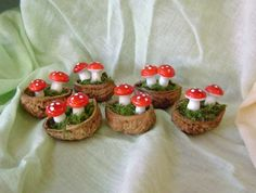 Four Walnut toadstool decorations  -  Waldorf inspired -
