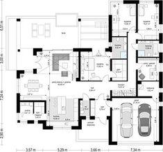 Projekt domu Willa Parterowa 171,76 m² - koszt budowy - EXTRADOM Pool House Plans, House Layout Plans, Barn House Plans, Dream House Plans, House Layouts, Village House Design, Bungalow House Design, Village Houses, Beautiful House Plans