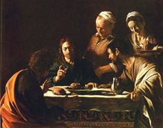 Caravaggio, Supper at Emmaus (1606).   Copy  found in a church in the French Loire town of Loches in 1999. Announced authentic Caravaggio in 2006.