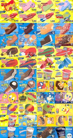 When Bubba was alive, we would share a Bubble Gun popsicle (upper right).  I would eat until I was done, then hold the stick for him until he ate the rest.  <3