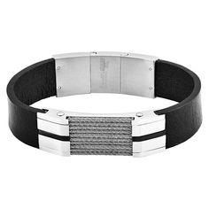 Crucible Stainless Steel Cable Inlay Black Leather ID Bracelet, Men's, Black/Silver