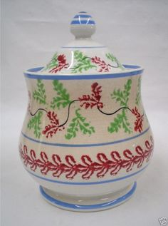 """NICE ANTIQUE STICK SPATTERWARE """"HOLLY"""" COVERED SUGAR"""