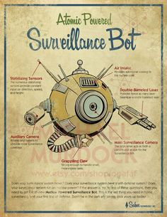 Retro Surveillance robot Art Print 11x14  vintage toy by Opafaf