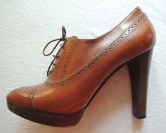 Ralph Lauren Collection Leather Oxford Heels On www.FullCircleFashion.com