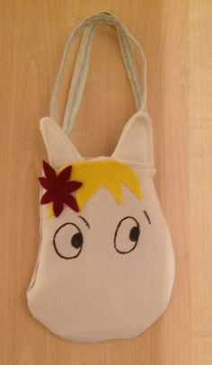 Moomin inspired 'Snork maiden' bag with cotton and felt on Etsy, £10.00