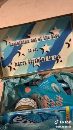 DIY blue themed gift box 🦋💙   1000 Best Friend Bday Gifts, Diy Birthday Gifts For Friends, Cute Gifts For Friends, Birthday Gifts For Boyfriend Diy, Cute Boyfriend Gifts, Creative Birthday Gifts, Cute Birthday Gift, Birthday Gift Baskets, Happy Birthday Gifts