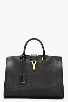 saint laurent/ black leather chyc tote