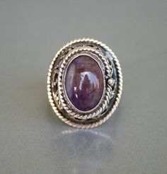 Vintage Mexican Sterling Amethyst Poison Ring Taxco Mexico Eagle 200.