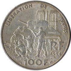 Moneda de plata 100 Francos Francia 1994 Liberación de Paris.
