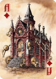 Chapel - Gothic and Steampunk style Architecture Drawings by Elwira Pawlikowska Steampunk City, Steampunk Artwork, Steampunk Theme, Steampunk House, Steampunk Fashion, Minecraft Steampunk, House Drawing, Walk In The Woods, Architecture Drawings
