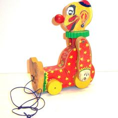Fisher Price - 1958 Squeaky Clown Wooden Pull Toy