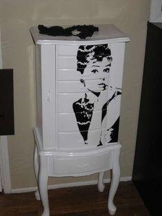 Audrey Hepburn decal on white dresser
