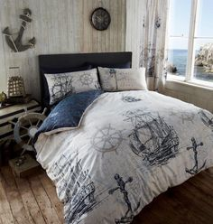 ADVENTURE DUVET QUILT COVER NAUTICAL BOAT SHIP ANCHOR DOUBLE BEDDING SET - NAVY