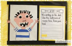 "Fall Into First:  David Goes to School!  Spend time discussing David's behavior and how it could be changed so that he would look like a ""real"" second grader.  Brainstorm rules that David must learn and follow.  Students write 3 rules for David and complete craftivity."