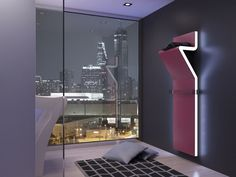 A unique designer radiator, LED side lights ensure a standout WOW factor. Luxury London living at its finest. Panel Radiators, Electric Radiators, Mirror Radiator, Towel Radiator, Home Interior, Interior Decorating, Contemporary Radiators, Electric Towel Rail, Home