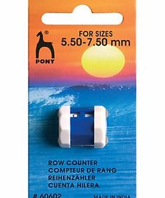 Pony Row Counter, Large This Pony row counter, ideal for larger pins from 5.5-7mm, slides easily onto your knitting needles so you never lose it. Clear and easy to read for your counts. (Barcode EAN=8901003606027) http://www.comparestoreprices.co.uk/hobbies/pony-row-counter-large.asp