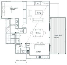 Upper Floor: Open Long Floor plan where kitchen, dining and living room are included