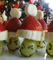 Grinch Healthy Christmas Snacks - I'm going to take the hat portion of this and put it on an apple for our 4K snack this week.