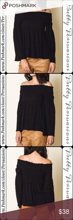 """Black Long Bell Sleeve Smocked Off Shoulder Top NWT Black Long Bell Sleeve Smocked Off Shoulder Top  Available in S, M, L Measurements taken from a small Length: 15"""" Bust: 26"""" (Smocked;Has Stretch) Waist: 32"""" ** Measurements taken unstretched **  * Also available in Navy & Tan *   Rayon  Features  • smocked stretchy upper for accommodating stay in place fit • long bell sleeves • relaxed, easy fit • soft, breathable material   Bundle discounts available  No pp or trades  Item # 1/101210380BST…"""