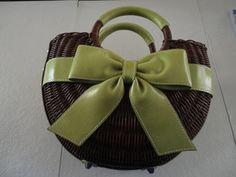 Isabella Fiore Bow Wicker Handbag