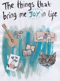 TASK 9 - Joy. Create some art about what brings you joy in life. The kind of things that get you through the week or day. Play Therapy Activities, Activities For Teens, Art Therapy Projects, Art Projects, Therapy Ideas, Art For Change, Art Therapy Directives, Creative Arts Therapy, Expressive Art