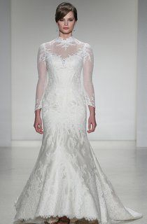Long Scoop Appliqued Lace Wedding Dress With Court Train And Illusion - UCenter Dress