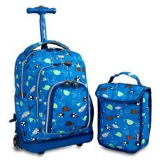 J World Lollipop Kids 16 in. Rolling Backpack with Lunch Bag Seaworld - RBS-16LSP SEAWORLD