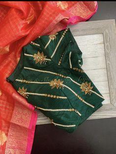 Uppada saree with handwork designer blouse whatsapp 9047090885 tanvika sarees - Her Crochet Hand Work Blouse Design, Simple Blouse Designs, Stylish Blouse Design, Fancy Blouse Designs, Zardosi Embroidery, Hand Work Embroidery, Hand Embroidery Designs, Simple Embroidery, Beaded Embroidery