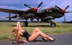 Aviation Pin Up and Nose Art, although I think she needs to be closer to the aircraft to qualify or the Nose Art category. Nose Art, Fighter Aircraft, Fighter Jets, Lockheed P 38 Lightning, Old Planes, Aircraft Painting, Airplane Art, Pin Up Models, Aviation Art
