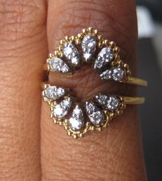 """Fabulous Jabel Diamond 18K """"Clamshell"""" Ring Guard, 1940's I want to find this! Help?"""