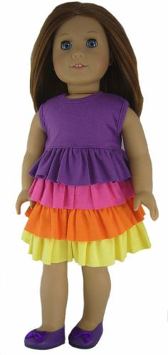 """COLORFUL RUFFLE DRESS + SHOES made for 18"""" American Girl Doll Clothes #Generic"""