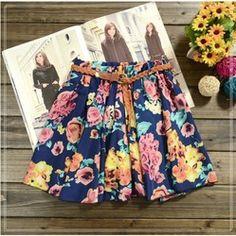Online Shop Hot sale ,12 Colors Pleated Floral Chiffon Women Ladies Cute Mini Skirt Belt Include|Aliexpress Mobile