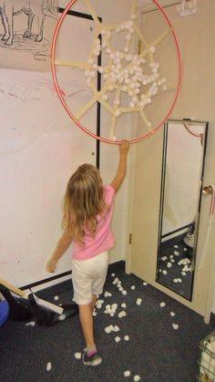 Learning from Preschoolers |hula hoop spider web some gross motor fun