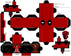 I have made no effort to hide the fact that I love Deadpool. Some time ago, I discovered Cubeecraft and since they didn't have a Deadpool, . Paper Cube, 3d Paper, Paper Toys, Dead Pool, Pokemon Papercraft, 3d Templates, Art Template, Diy And Crafts, Crafts For Kids