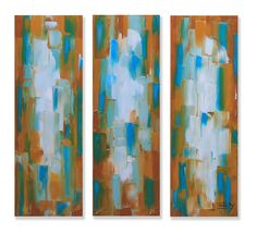 "Original Oil painting, palette knife triptych by award winning San Francisco Bay artist Lisa Elley. A stunning large format original abstract palette knife painting, with hues of ocher and turquoise green. Ready to ship, direct from the San Francisco Bay studio of an award winning fine artist ------ This listing is for a large, gallery quality abstract painting. S I Z E: Three archival quality, gallery wrapped canvasses. Each measuring 12 X 36"" with a 1"" side edge. Total painting size is..."