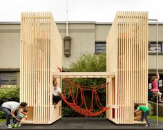 Modern wooden playhouse for adults